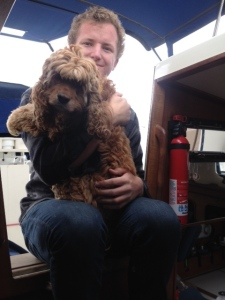 Jacob and Charlie visit - both love the boat