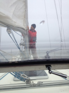 Ralph taking down the sail