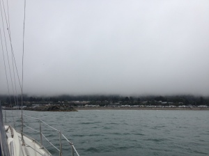 Approaching the Chetco River Bar, Brookings - fog lifting