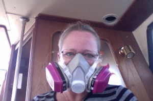My new mask in case the fumes bother me again.  I'm smiling, in case you can't tell.