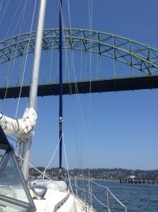 Passing under the bridge
