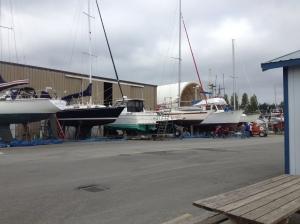 Boat maintenance and repair happening everywhere around here