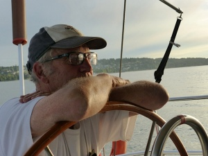Ralph at the helm of ArielX (photo credit AB)