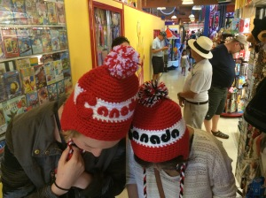 Amy & Michelle trying on Canada hats for me