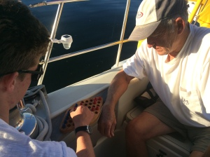 Ralph and Noah squaring off at an old form of checkers