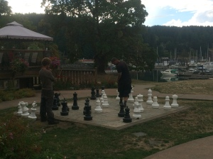 Outdoor chess game at Herriot Bay