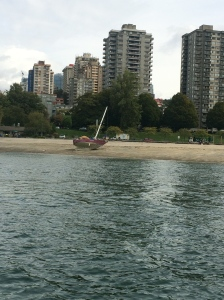 As we entered False Creek we noticed this boat on the beach.  Sad.