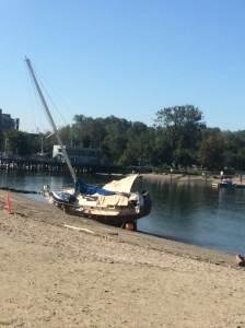 The same beached boat, viewed from land.  I wonder how long it will be there?