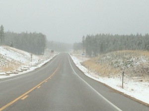 Snow threatening of the way to Yellowstone